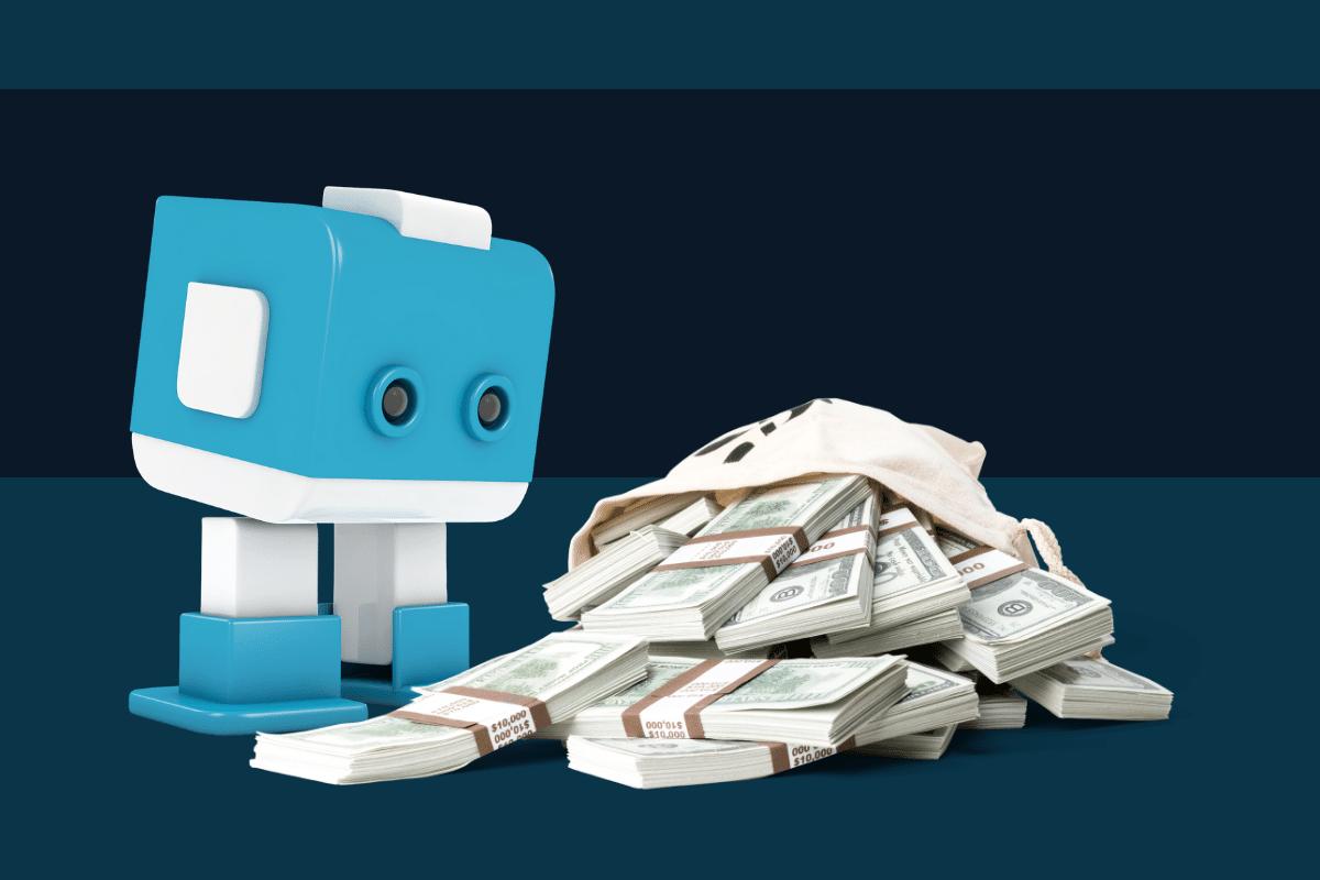 Blauweißer Chatbot und Geldnoten