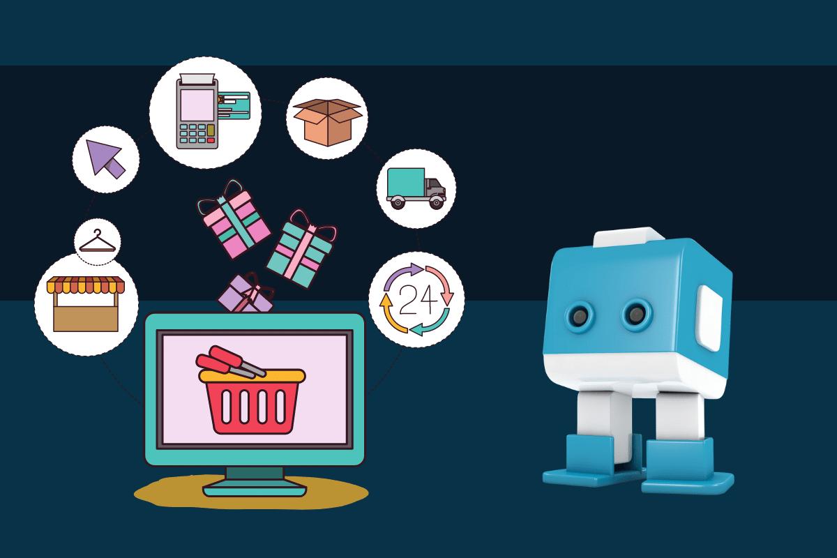 Blauweißer E-commerce Bot